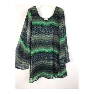 Everly Green Printed Bell Sleeve Mini Dress